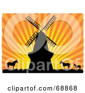 Royalty Free RF Clipart Illustration Of A Windmill And Horses Silhouetted Against An Orange Bursting Sunset by mheld