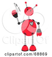 Royalty Free RF Clipart Illustration Of A Springy Red Robot Holding A Gun