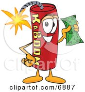 Clipart Picture Of A Red Dynamite Mascot Cartoon Character Holding A Dollar Bill by Toons4Biz