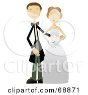 Royalty Free RF Clipart Illustration Of A Caucasian Wedding Couple Posing Together