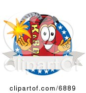 Dynamite Mascot Cartoon Character With Stars And A Blank Ribbon Label