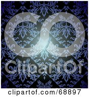 Royalty Free RF Clipart Illustration Of A Dark Blue Floral Pattern Background by michaeltravers