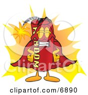 Clipart Picture Of A Red Dynamite Mascot Cartoon Character Dressed As A Super Hero