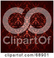 Royalty Free RF Clipart Illustration Of A Dark Red Floral Pattern Background by michaeltravers