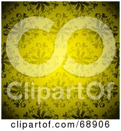 Royalty Free RF Clipart Illustration Of A Yellow Floral Pattern Background by michaeltravers