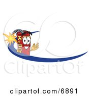 Clipart Picture Of A Red Dynamite Mascot Cartoon Character Logo With A Blue Dash