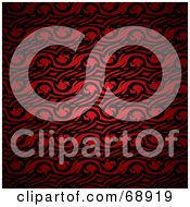 Royalty Free RF Clipart Illustration Of A Red Background With Black Swirl Designs by michaeltravers