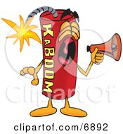 Clipart Picture Of A Red Dynamite Mascot Cartoon Character Screaming Into A Megaphone