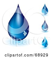 Royalty Free RF Clipart Illustration Of A Digital Collage Of Four Blue Water Drops by michaeltravers