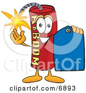 Dynamite Mascot Cartoon Character Holding A Blue Sales Price Tag