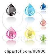 Royalty Free RF Clipart Illustration Of A Digital Collage Of Colorful Shiny Ink Drops by michaeltravers