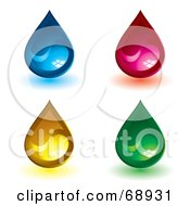 Royalty Free RF Clipart Illustration Of A Digital Collage Of Colorful Shiny Yin Yang Water Drops by michaeltravers