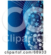 Royalty Free RF Clipart Illustration Of A Blue Christmas Background With Waves Of Elegant Snowflakes by michaeltravers