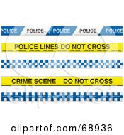 Royalty Free RF Clipart Illustration Of A Digital Collage Of Blue And Yellow Police Lines Tapes