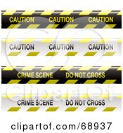 Royalty Free RF Clipart Illustration Of A Digital Collage Of Yellow Black And White Caution Do Not Cross Crime Scene Tapes