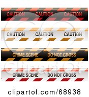 Royalty Free RF Clipart Illustration Of A Digital Collage Of Red And Orange Caution Tapes