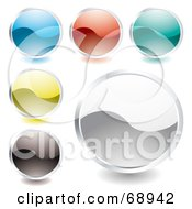 Digital Collage Of Rounded Shiny Wave Colorful Buttons by michaeltravers