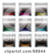 Digital Collage Of Nine Black And Colorful Square Buttons by michaeltravers