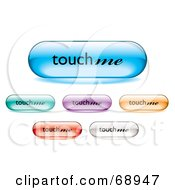 Digital Collage Of Long Rounded Colorful Touch Me Buttons by michaeltravers