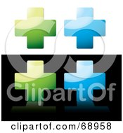 Royalty Free RF Clipart Illustration Of A Digital Collage Of Green And Blue Shiny Crosses by michaeltravers
