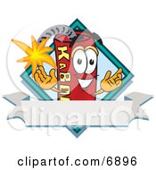 Dynamite Mascot Cartoon Character With A Blank Ribbon Label