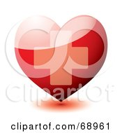 Royalty Free RF Clipart Illustration Of A 3d Shiny Red Heart With A Cross by michaeltravers