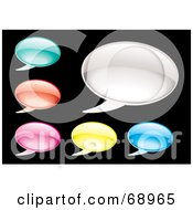 Royalty Free RF Clipart Illustration Of A Digital Collage Of Colorful Shiny Speech Balloon Icons by michaeltravers
