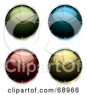 Royalty Free RF Clipart Illustration Of A Digital Collage Of Four Shiny 3d Wall Clocks by michaeltravers