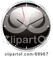 Royalty Free RF Clipart Illustration Of A Shiny Black 3d Wall Clock by michaeltravers