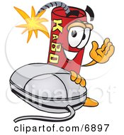 Clipart Picture Of A Red Dynamite Mascot Cartoon Character With A Computer Mouse