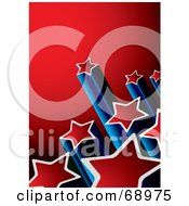 Royalty Free RF Clipart Illustration Of A Red And Blue Background With Columns Of Shooting Stars by michaeltravers #COLLC68975-0111