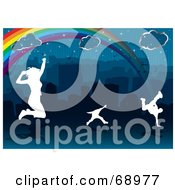 Royalty Free RF Clipart Illustration Of White Silhouetted People Jumping And Dancing Under A City Rainbow by michaeltravers