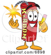 Clipart Picture Of A Red Dynamite Mascot Cartoon Character Holding A Pencil