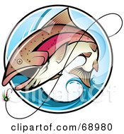 Royalty Free RF Clipart Illustration Of A Fish Leaping Out Of A Blue Wave To Bite A Lure by TA Images