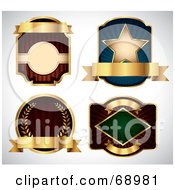 Royalty Free RF Clipart Illustration Of A Digital Collage Of Four Labels With Blank Gold Banners by TA Images