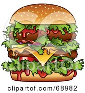 Royalty Free RF Clipart Illustration Of A Messy Double Cheese Burger With Ketchup by TA Images #COLLC68982-0125