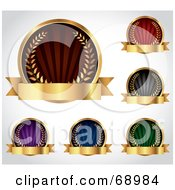Royalty Free RF Clipart Illustration Of A Digital Collage Of Five Colorful Round Laurel Logos With Blank Gold Banners by TA Images
