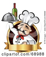 Royalty Free RF Clipart Illustration Of A Pleasant Chef Holding Wine And A Platter On A Red Logo With A Gold Banner