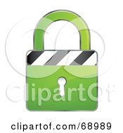 Royalty Free RF Clipart Illustration Of A Secured 3d Green Padlock With Stripes by beboy