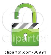 Royalty Free RF Clipart Illustration Of An Open 3d Green Padlock With Stripes by beboy