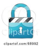 Secured 3d Blue Padlock With Stripes