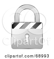 Royalty Free RF Clipart Illustration Of A Secured 3d Silver Padlock With Stripes by beboy