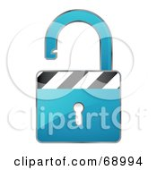 Royalty Free RF Clipart Illustration Of An Open 3d Blue Padlock With Stripes