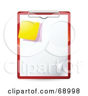 Royalty Free RF Clipart Illustration Of A Red Clipboard With A Blank Piece Of Paper And Sticky Notes by beboy