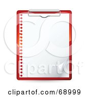 Royalty Free RF Clipart Illustration Of A Red Clipboard With A Blank Piece Of Spiral Notebook Paper by beboy