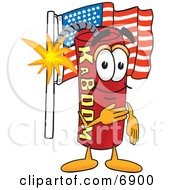 Clipart Picture Of A Red Dynamite Mascot Cartoon Character Pledging Allegiance To The American Flag by Toons4Biz