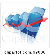 Royalty Free RF Clipart Illustration Of A Blue 3d Column Bar Graph With A Red Arrow