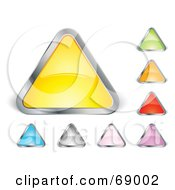 Digital Collage Of Shiny Colorful Triangle Shaped Buttons With Chrome Trim