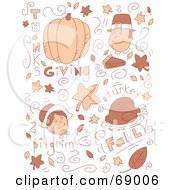 Royalty Free RF Clipart Illustration Of A Brown Holiday Doodle Background Of Thanksgiving Items On White