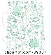 Green Holiday Doodle Background Of St Patricks Day Items On White